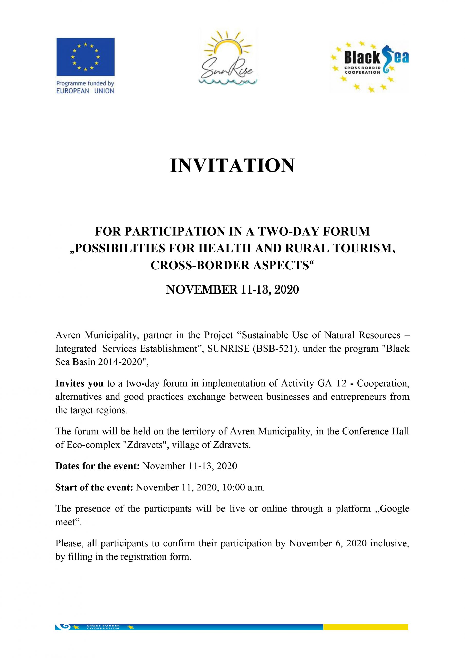 Invitation to participate in a two-day forum